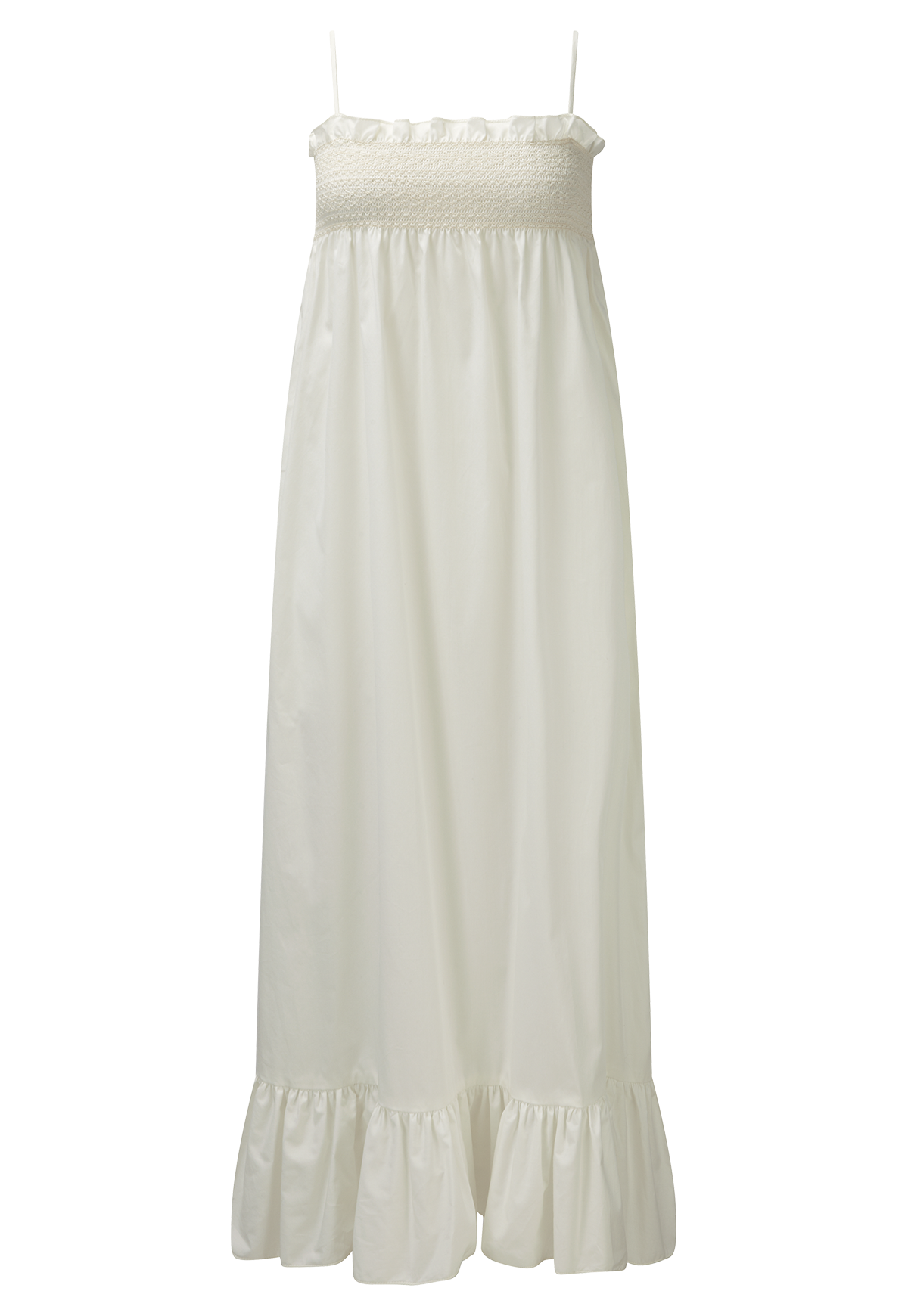 SELENA SMOCKED CREAM COTTON SLIP DRESS