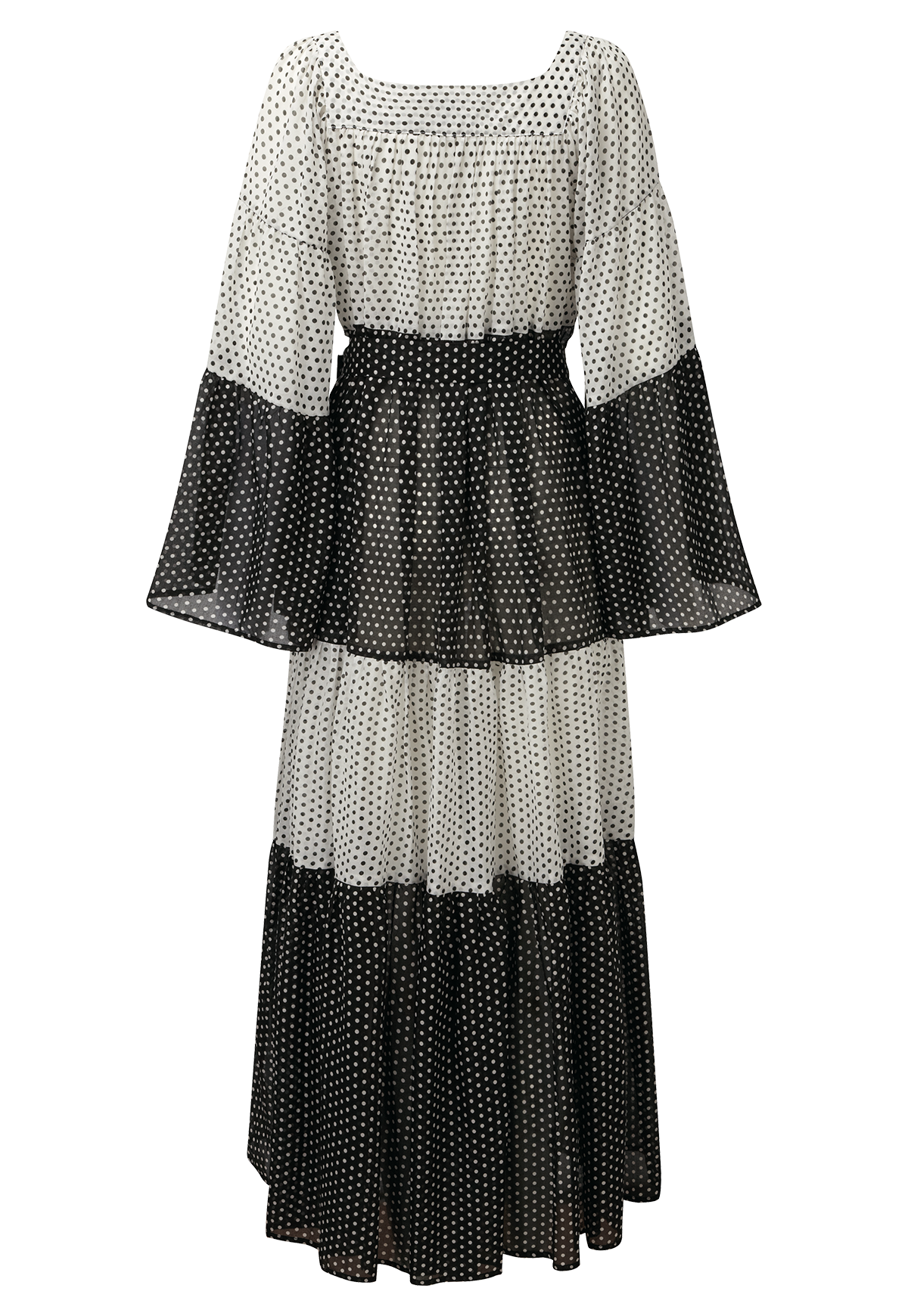 PEASANT POLKA DOT COTTON MAXI DRESS