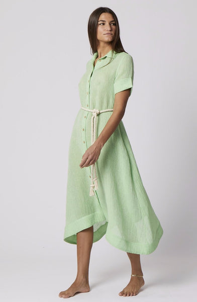 GREEN CHIOS GAUZE SHIRT DRESS