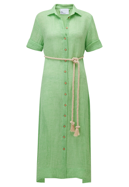 GREEN CHIOS GAUZE SHIRT DRESS (PRE-ORDER)