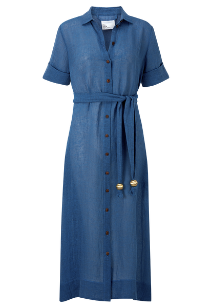 MOROCCAN BLUE ORGANIC GAUZE SHIRT DRESS