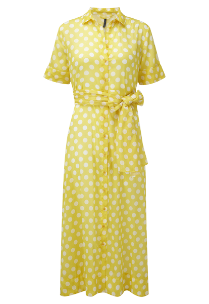 YELLOW POLKA DOT COTTON SHIRT DRESS