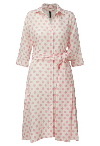 MINI PINK POLKA DOT LINEN SHIRT DRESS