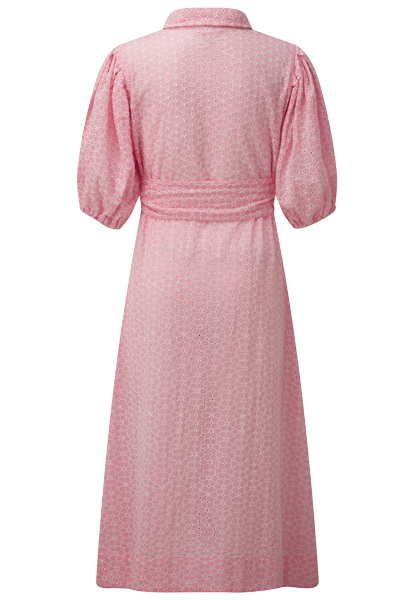 DAISY EYELET PINK AND WHITE POUF SLEEVE SHIRT DRESS