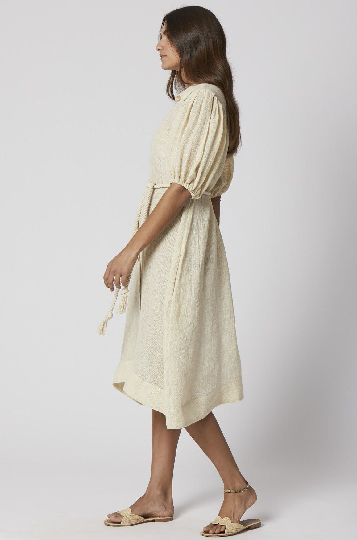 NATURAL CHIOS GAUZE POUF SHIRT DRESS