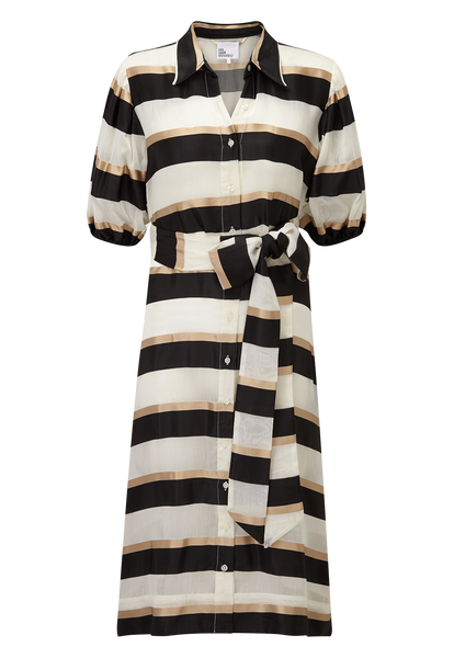 BLACK/GOLD STRIPED SHIRT DRESS