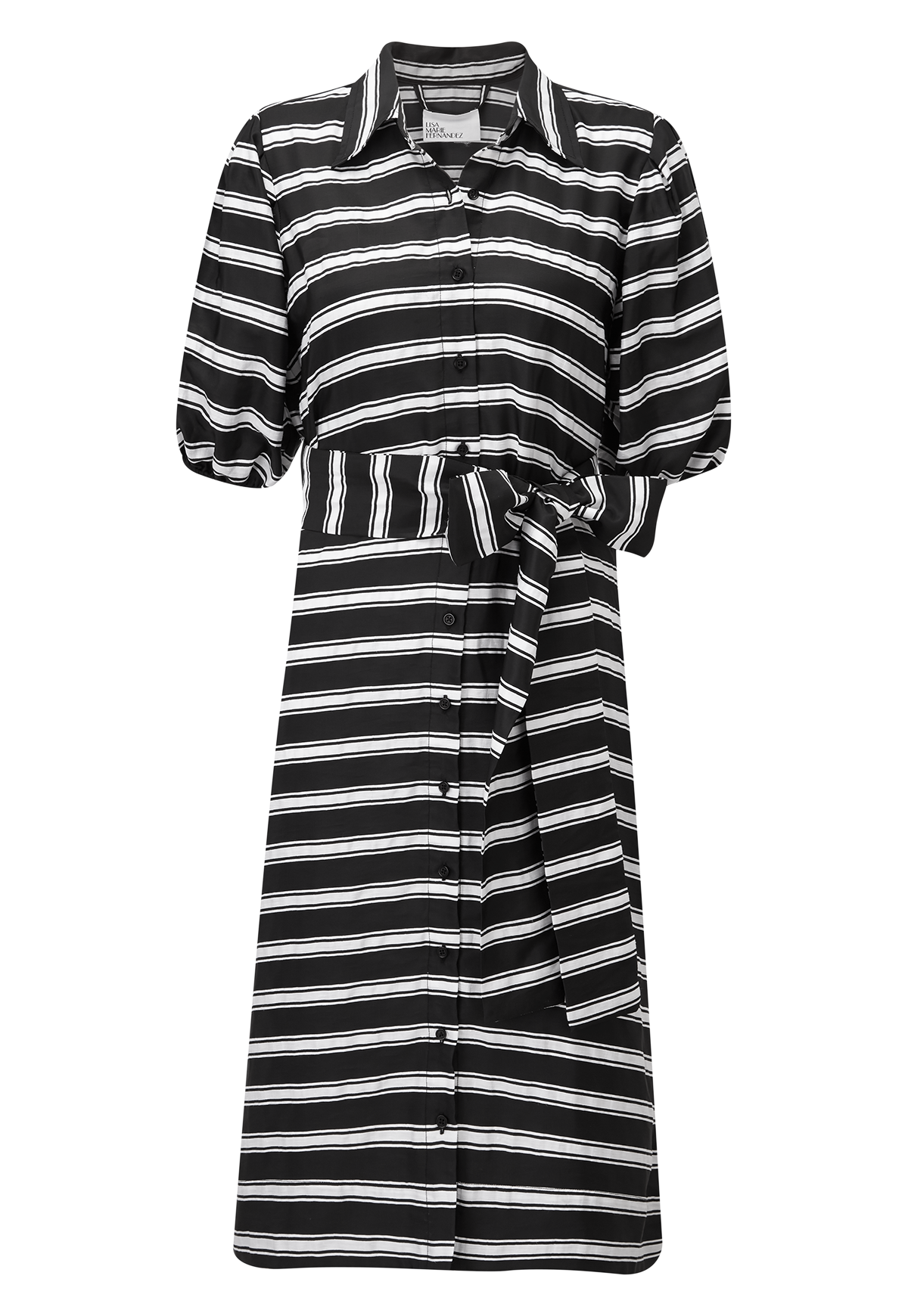 BLACK STRIPED POUF SLEEVE SHIRT DRESS