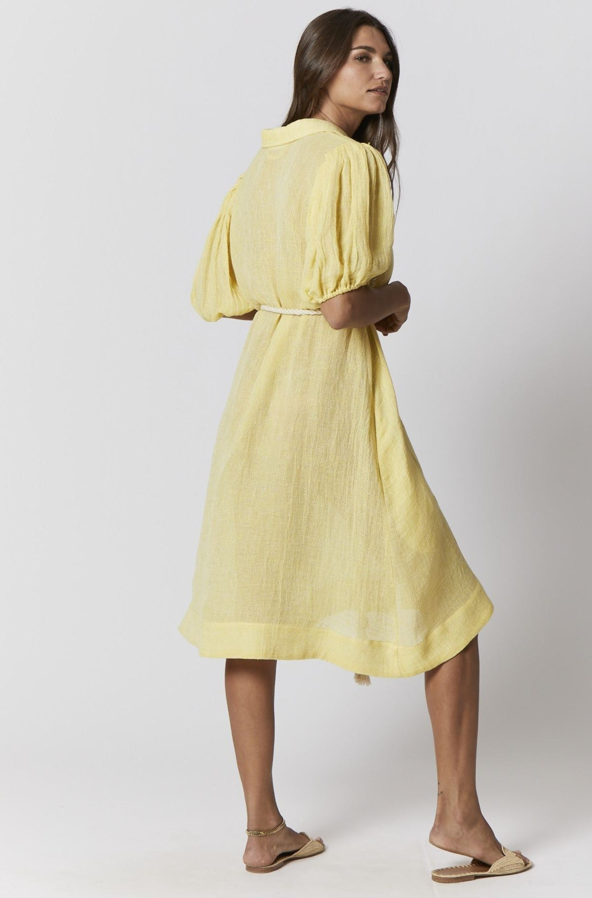 YELLOW CHIOS GAUZE SHIRT DRESS