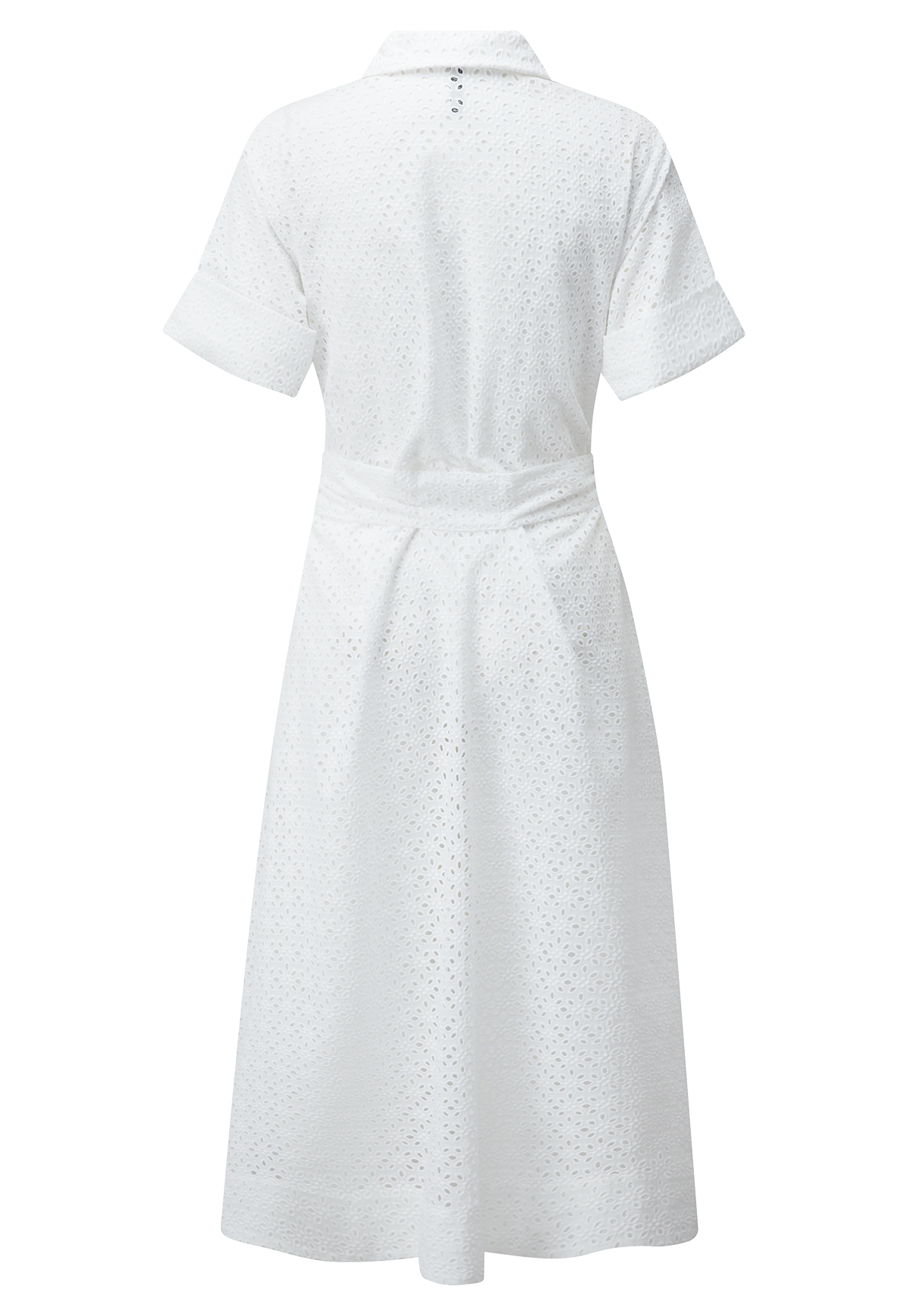 WHITE EYELET SHIRT DRESS