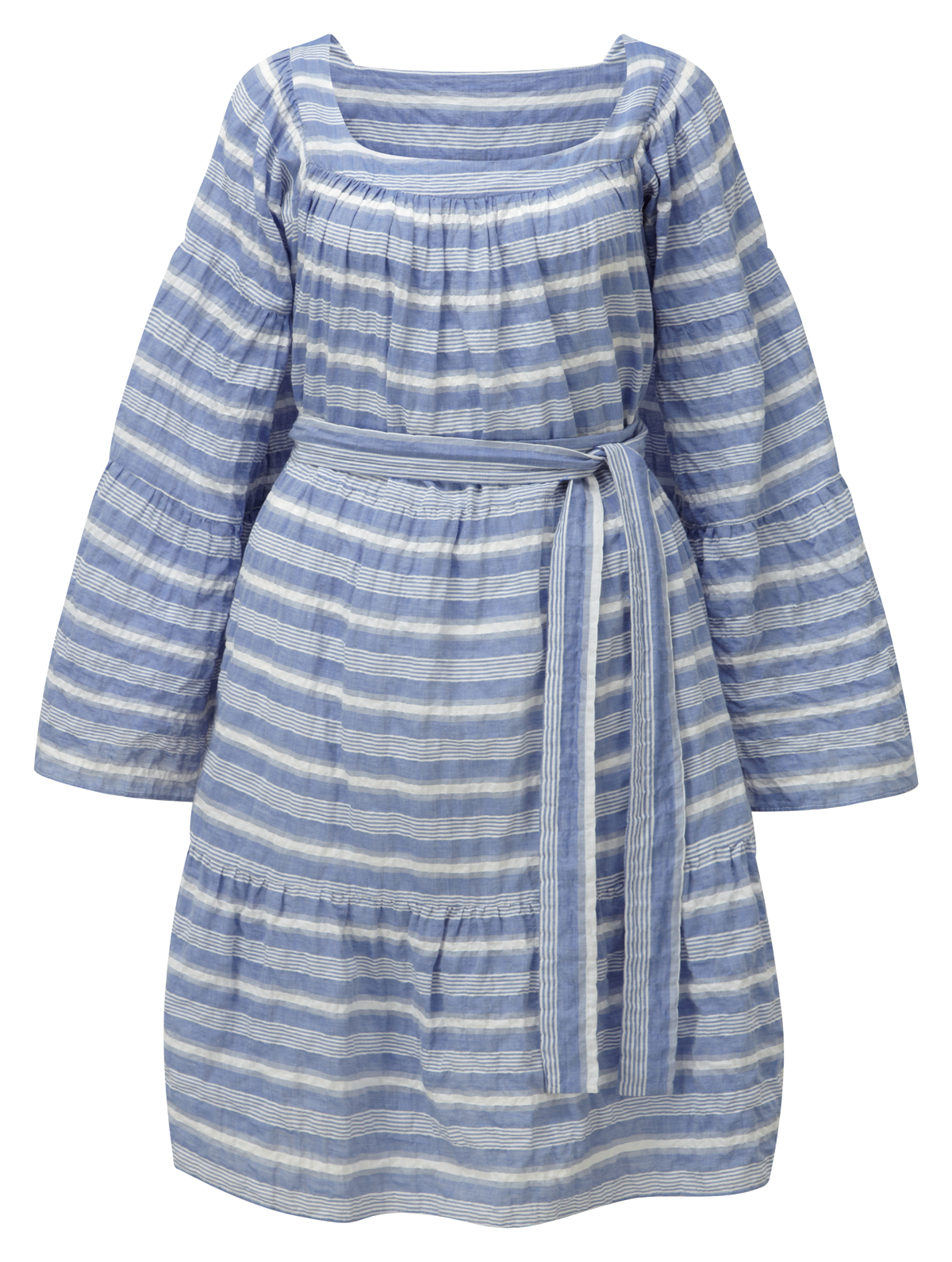 PEASANT STRIPED COTTON MINI DRESS