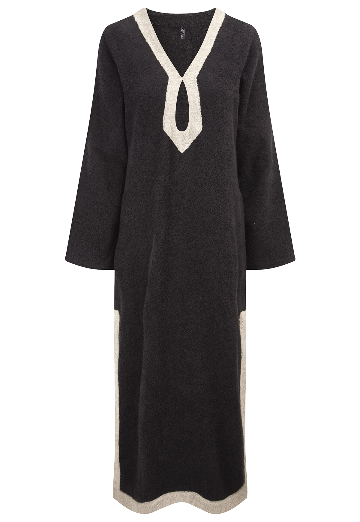 KEYHOLE BLACK TERRY CLOTH TUNIC