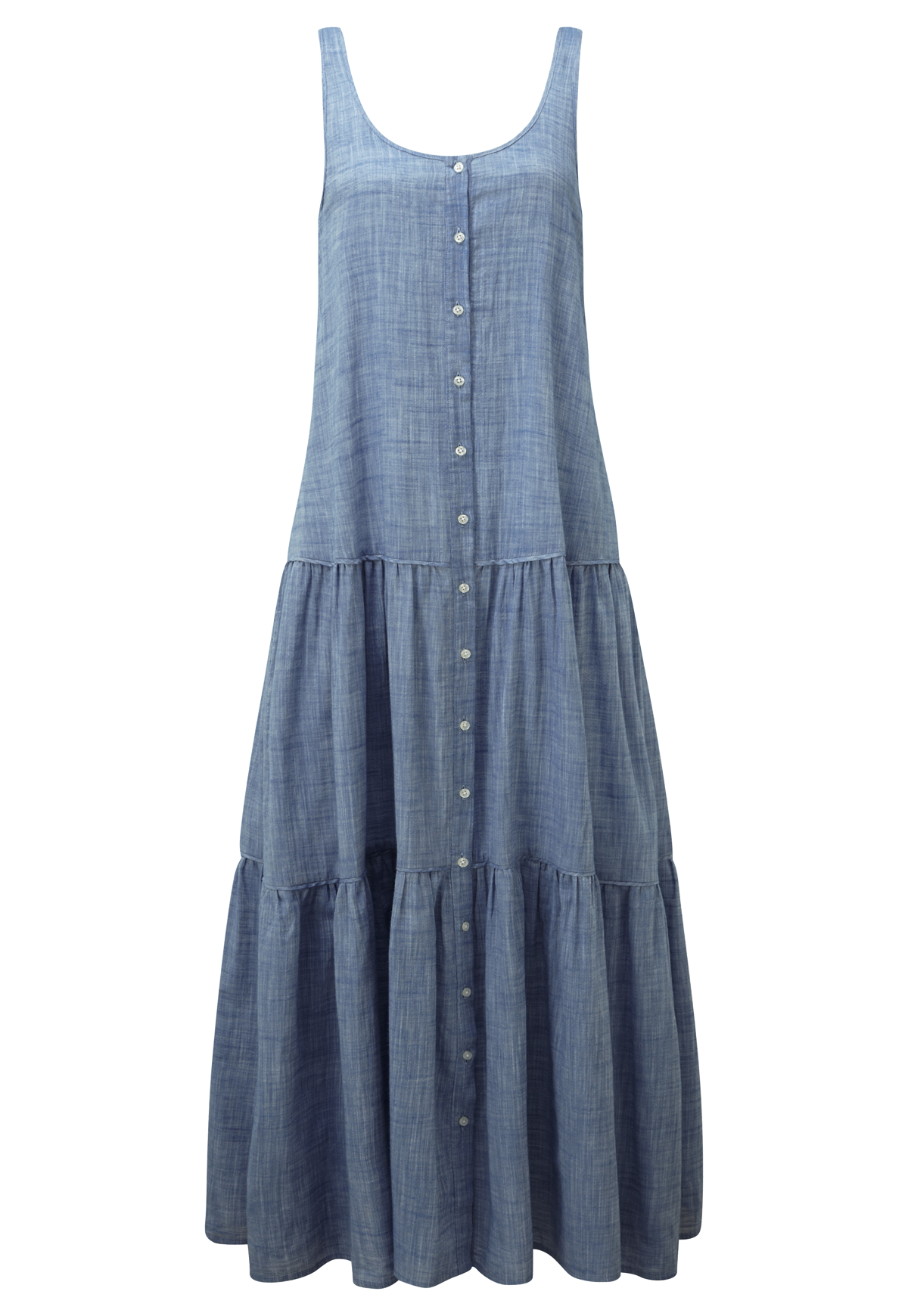CHAMBRAY BUTTON DOWN TIER DRESS