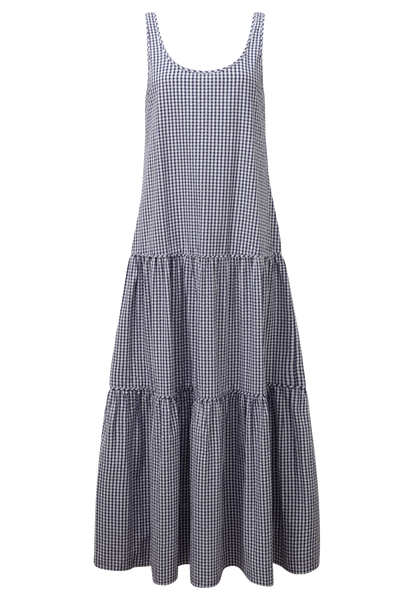 NAVY CHECK TIER DRESS