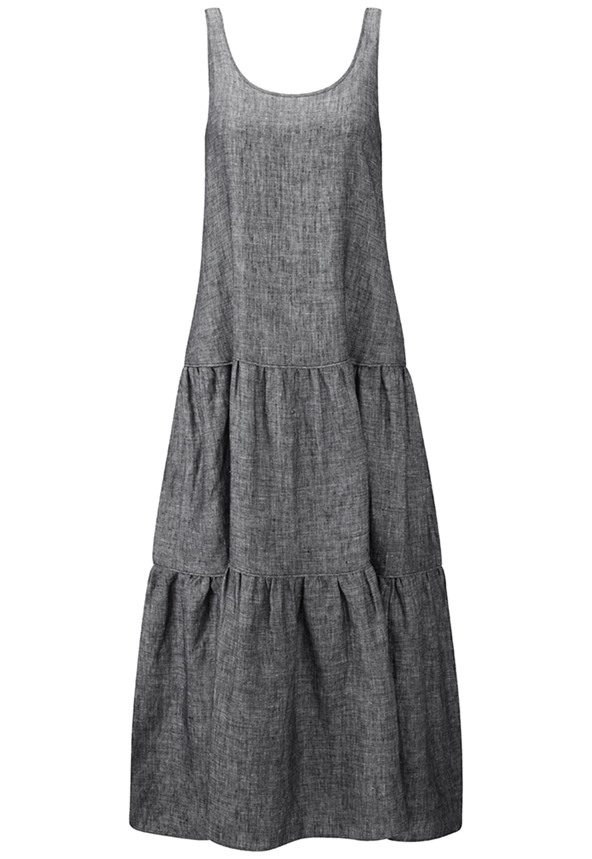 BLACK LINEN TIER DRESS