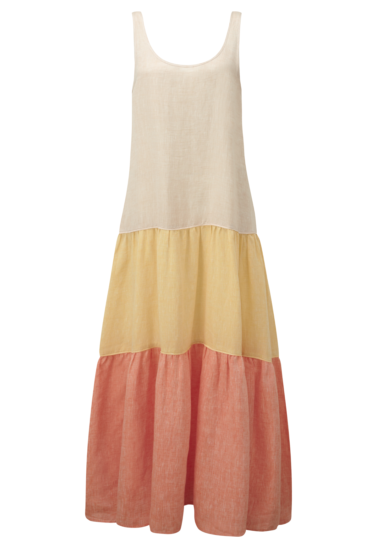 COLORBLOCK LINEN TIER DRESS