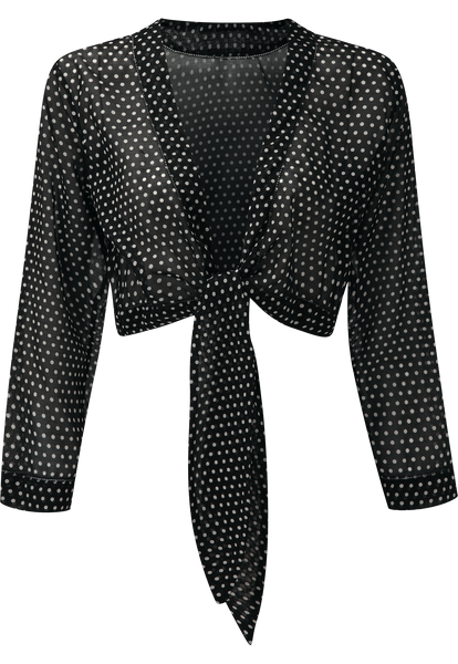 BLACK POLKA DOT TIE BLOUSE