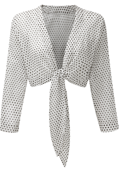 WHITE POLKA DOT TIE BLOUSE