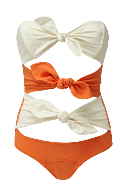 TRIPLE POPPY ORANGE CREPE MAILLOT