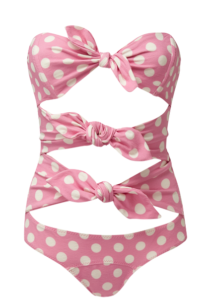 TRIPLE POPPY PINK POLKA DOT MAILLOT