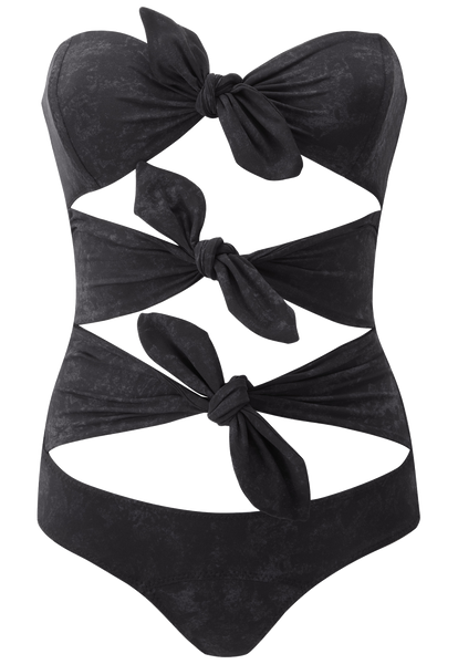 TRIPLE POPPY BLACK SUEDED MAILLOT