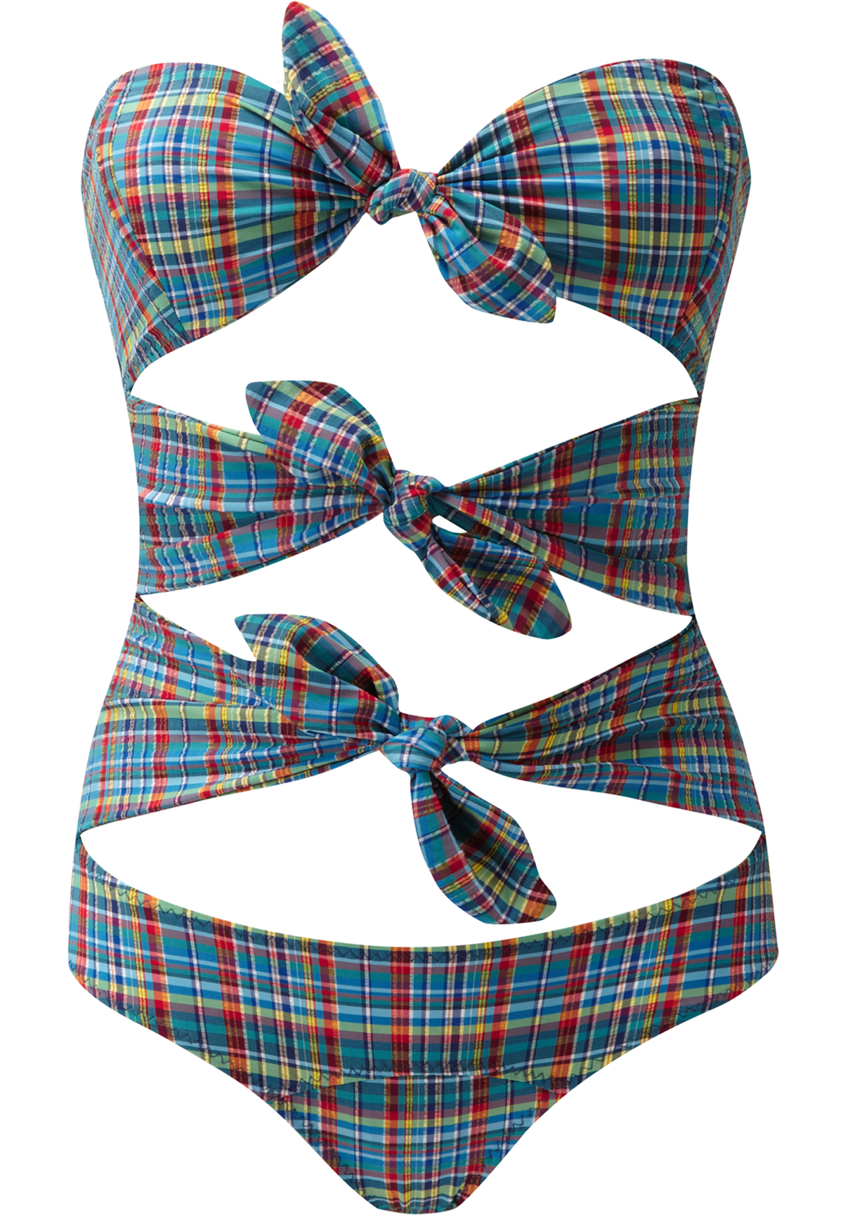 TRIPLE POPPY PLAID MAILLOT