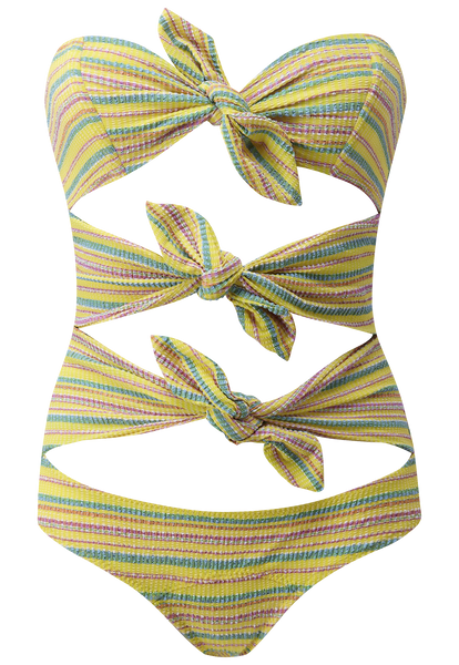 TRIPLE POPPY YELLOW STRIPED SEERSUCKER MAILLOT