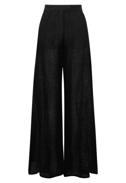BLACK GAUZE WIDE LEG PANT