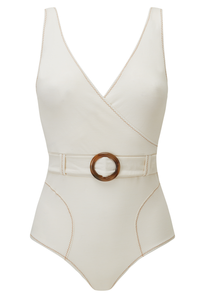 YASMIN CREAM COTTON BELTED MAILLOT