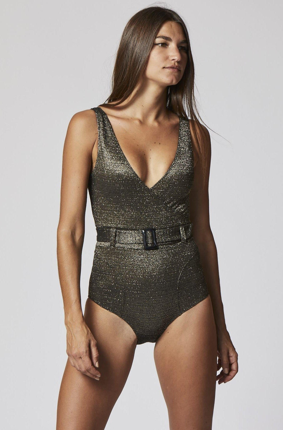 YASMIN BELTED GOLD/BLACK LUREX MAILLOT