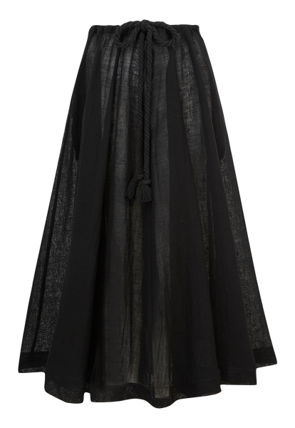 YASMIN BLACK GAUZE DRAWSTRING SKIRT