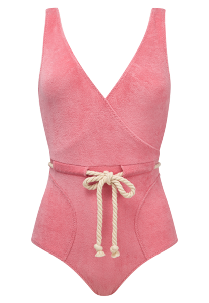 YASMIN PINK TERRY CLOTH MAILLOT