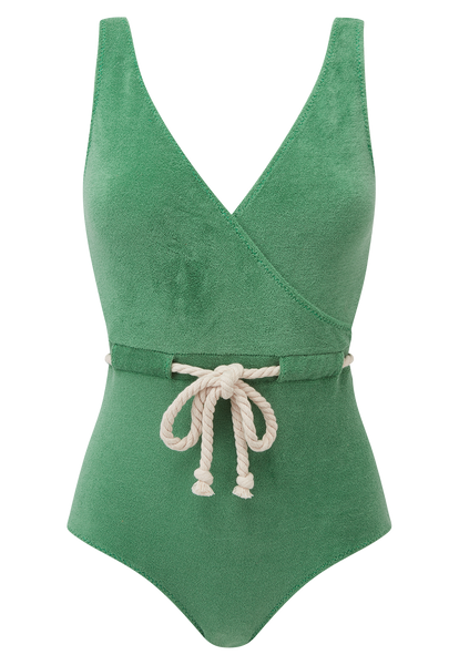 YASMIN GREEN TERRY CLOTH MAILLOT