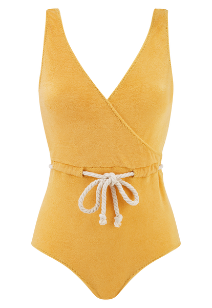 YASMIN SAFFRON TERRY CLOTH MAILLOT
