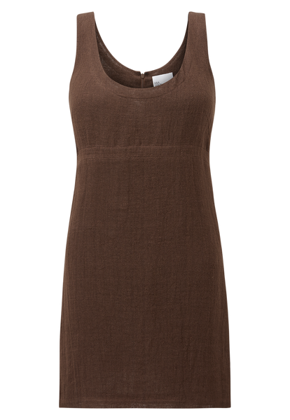 ZANI CHOCOLATE ORGANIC GAUZE MINI DRESS