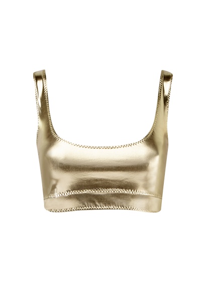ZANI WHITE GOLD METALLIC PVC TOP