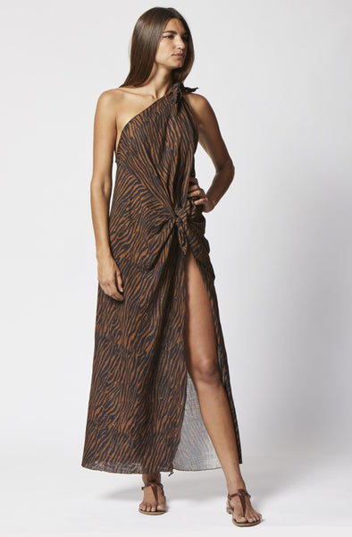 ZERINA ZEBRA COTTON SARONG DRESS