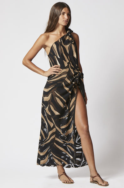 ZERINA ZEBRA DEVORE SARONG DRESS