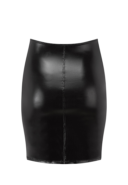 BLACK PVC ZIP SKIRT