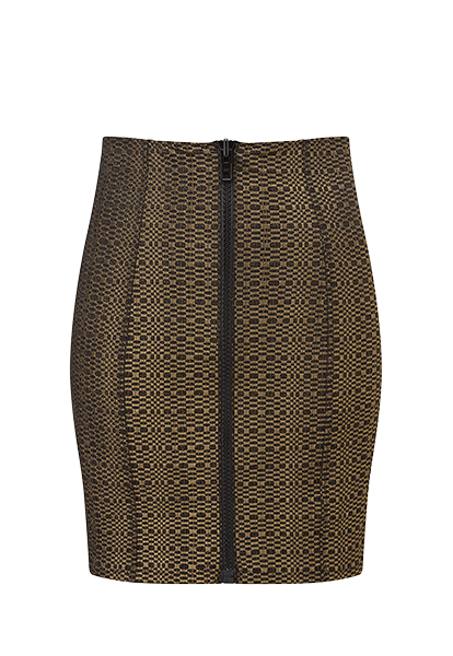 GOLD AND BLACK METALLIC SEERSUCKER ZIP SKIRT