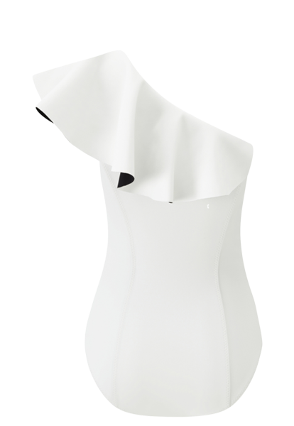 ARDEN WHITE BONDED FLOUNCE MAILLOT (PRE-ORDER)