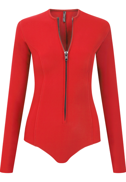 FARRAH RED NEOPRENE MAILLOT