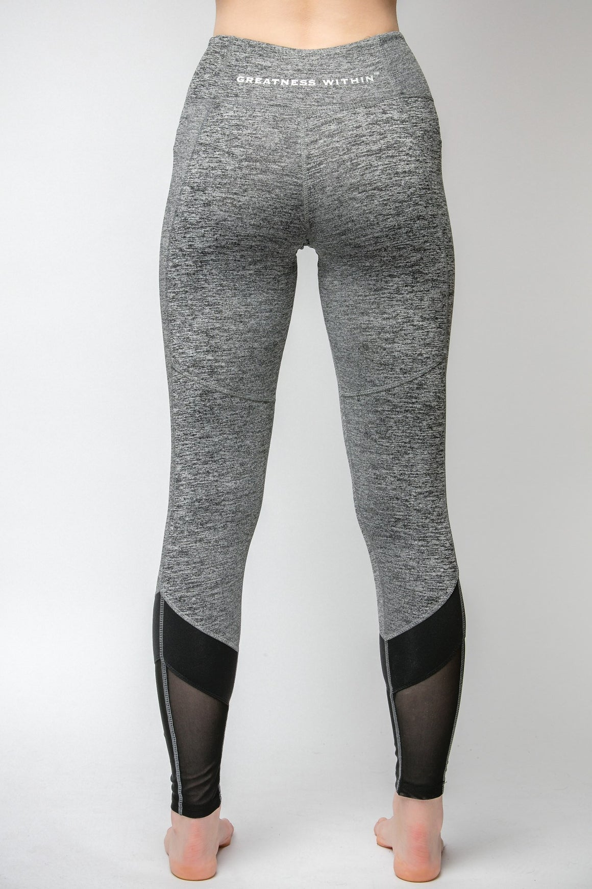 GW Grey 1/4 Mesh Leggings - Greatness Within