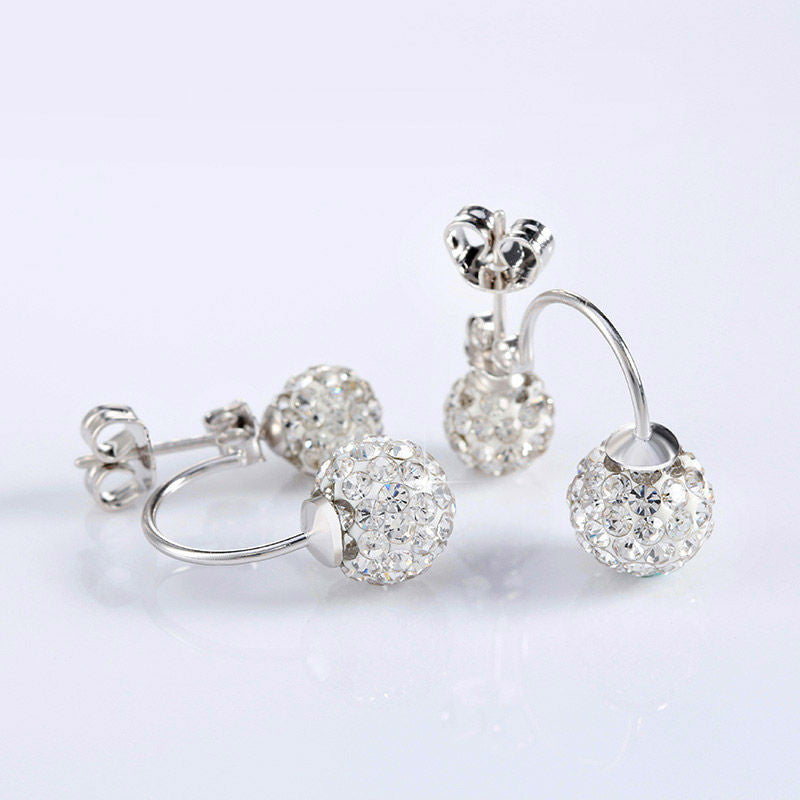 Double Round Beads Crystal Earring