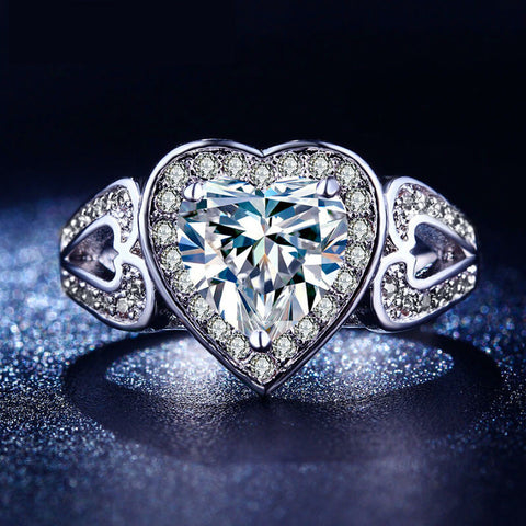 Cubic Zircon Diamond Heart Ring