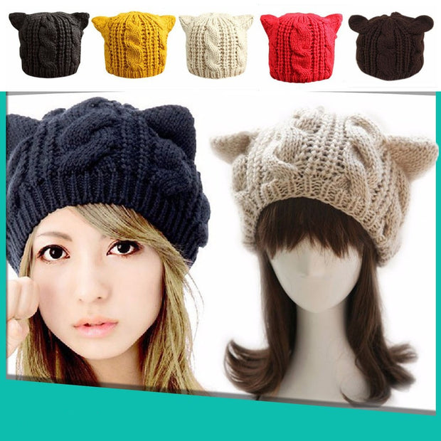 Hand-Knitted Cat Ear Beanie - FREE GIVEAWAY