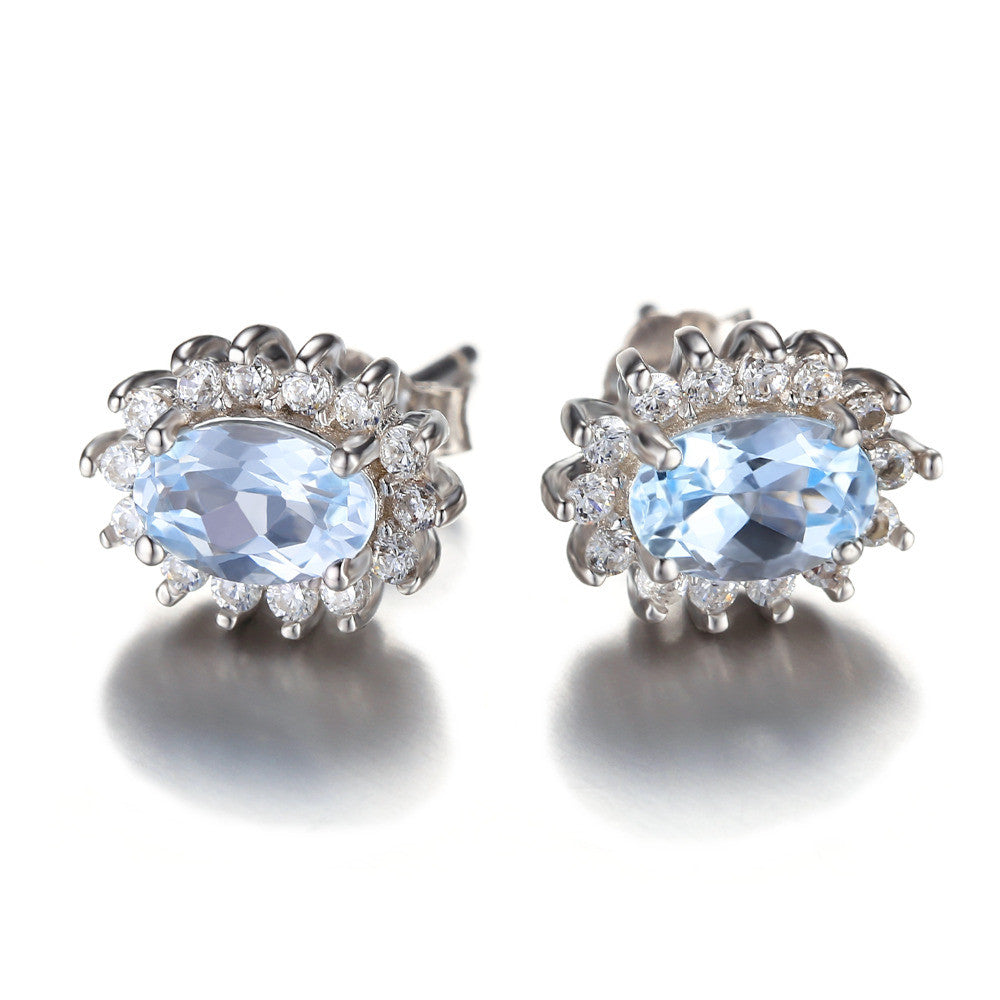 Princess Diana Natural Blue Topaz Earrings