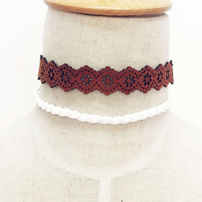 Hollow Leather Choker Necklace