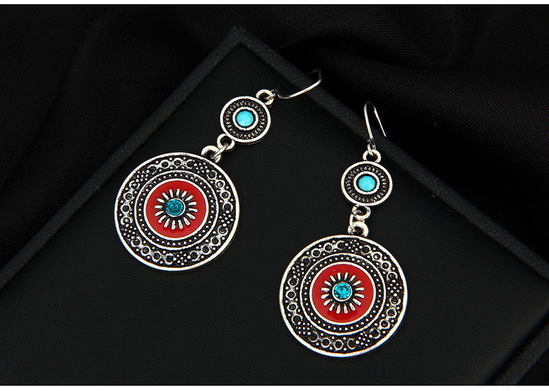 Bohemian Silver Red Earrings