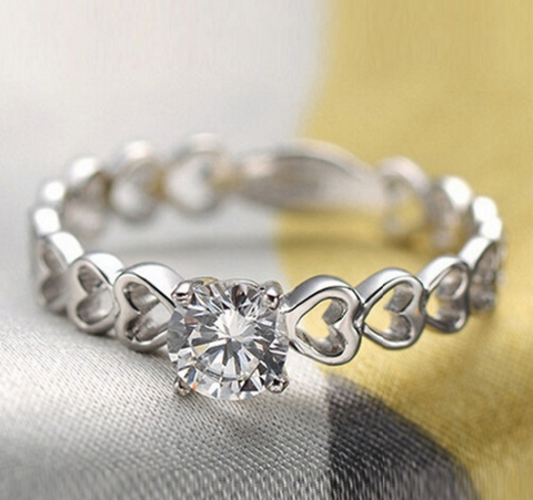 Romantic Heart Diamond Ring