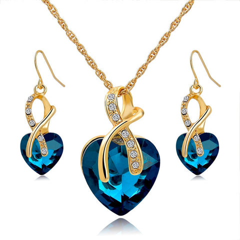 Vogue Gold Plated Crystal Jewelry Set (Necklace+Earrings)